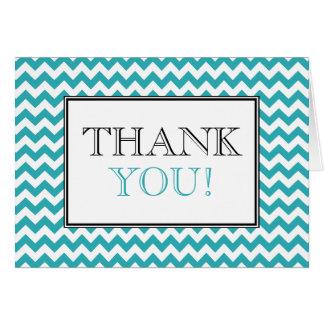 Chevron Turquoise & White Thank You Card