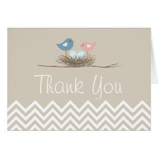 Chevron Twin Boys Bird's Nest Thank You Card