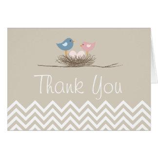 Chevron Twin Girls Bird's Nest Thank You Card