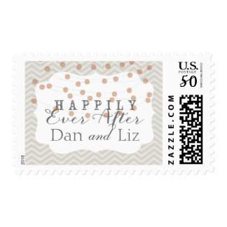 Chevron Twinkle Lights Happily Ever After Stamp
