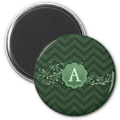 Chevron verde en la arpillera con el monograma imanes