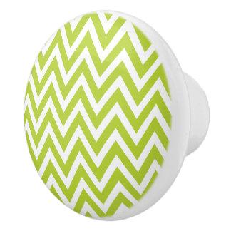 Chevron verde pomo de cerámica
