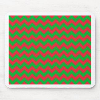 Chevron verde rojo mouse pad