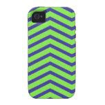 Chevron verde y azul iPhone 4/4S fundas