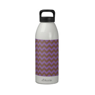 Chevron Violet Bellflower And Coffee Brown Water Bottle