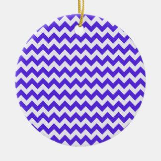 Chevron violeta azul ornaments para arbol de navidad