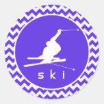 Chevron violeta azul; Esquí de la nieve Etiqueta