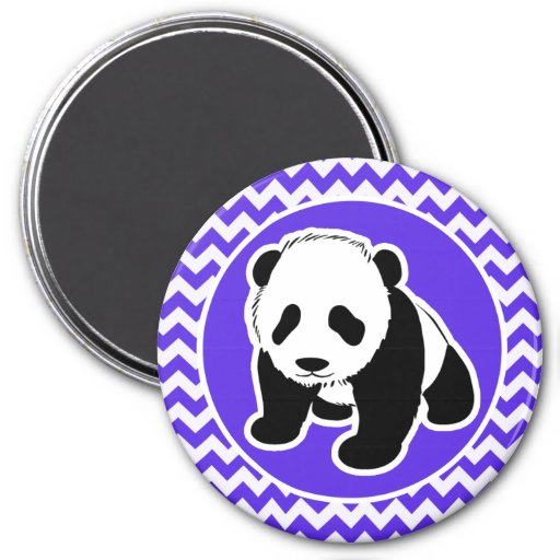 Chevron violeta azul; Panda Imán Redondo 7 Cm