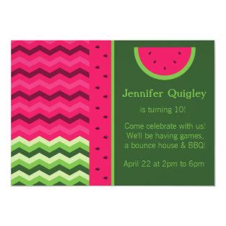 Chevron Watermelon Birthday Party Invitation