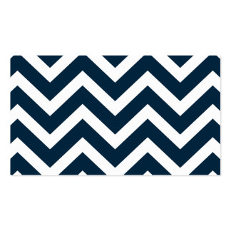 Chevron Waves in Midnight Blue and White ZigZag Business Card
