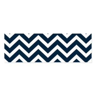 Chevron Waves in Midnight Blue and White ZigZag Business Cards