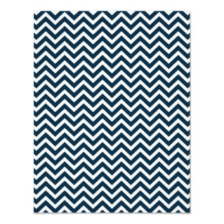 Chevron Waves in Midnight Blue and White ZigZag 4.25x5.5 Paper Invitation Card