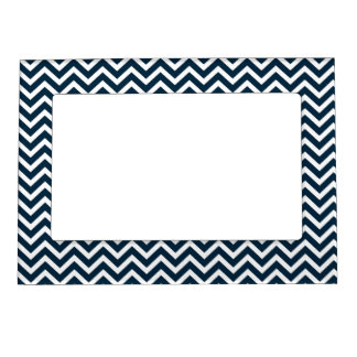 Chevron Waves in Midnight Blue and White ZigZag Magnetic Frame