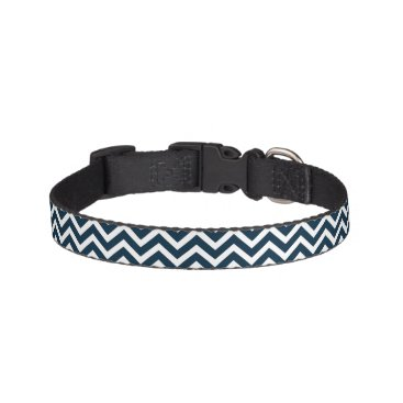 Beach Themed Chevron Waves in Midnight Blue and White ZigZag Pet Collar