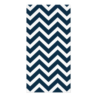 Chevron Waves in Midnight Blue and White ZigZag Customized Photo Card