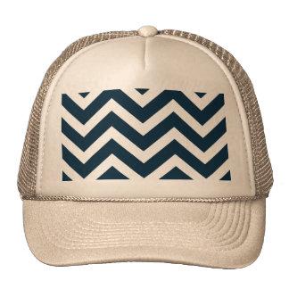 Chevron Waves in Midnight Blue and White ZigZag Trucker Hat