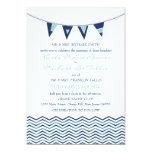 "Chevron Waves with Nautical Love Banner Invitation 5"" X 7"" Invitation Card"