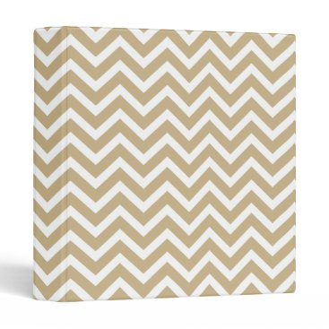Aqua Chevron Wavy Stripes in Christmas Gold & White 3 Ring Binder