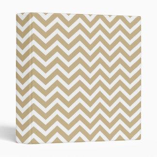 Chevron Wavy Stripes in Christmas Gold & White Vinyl Binders