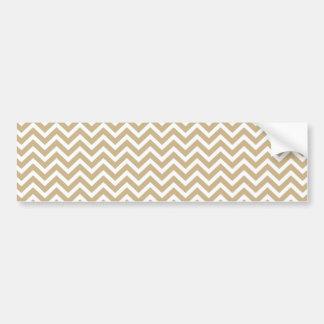 Chevron Wavy Stripes in Christmas Gold & White Car Bumper Sticker