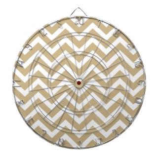 Chevron Wavy Stripes in Christmas Gold & White Dartboard With Darts