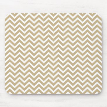 Aztec Themed Chevron Wavy Stripes in Christmas Gold & White Mouse Pad