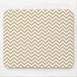 Chevron Wavy Stripes in Christmas Gold & White Mouse Pad