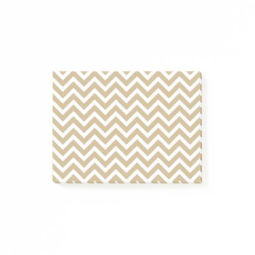 Aqua Chevron Wavy Stripes in Christmas Gold & White Post-it Notes