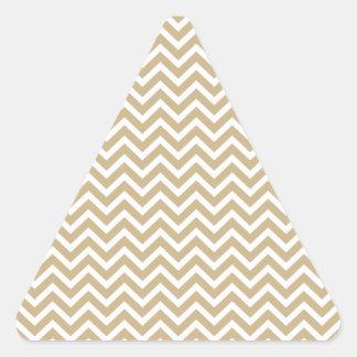 Chevron Wavy Stripes in Christmas Gold & White Triangle Sticker