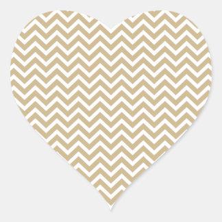 Chevron Wavy Stripes in Christmas Gold & White Heart Sticker