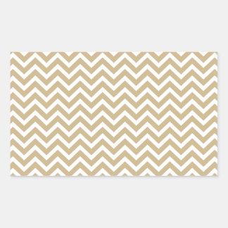 Chevron Wavy Stripes in Christmas Gold & White Rectangular Sticker