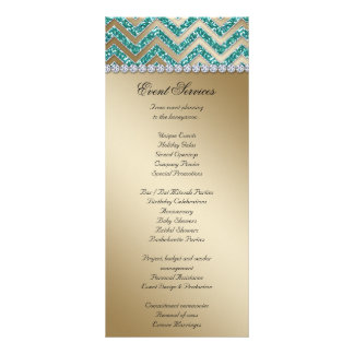 Chevron Wedding Rack Cards Sparkle Teal Gold