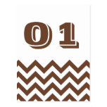 Chevron Wedding Table Number Cards Post Cards