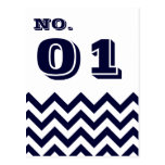 Chevron Wedding Table Number Cards Postcards