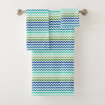 Beach Themed Chevron White Blue Green Sea Toned Towels