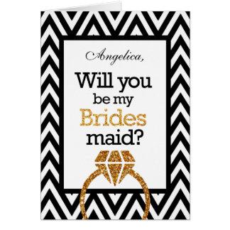 Chevron Will You Be My Bridesmaid Invitation Greeting Card