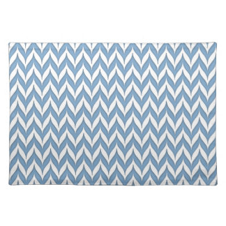 Chevron Wing Striped Pattern Hydrangea Blue Cloth Placemat