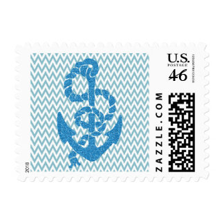 Chevron with Faux Glitter Anchor Postage