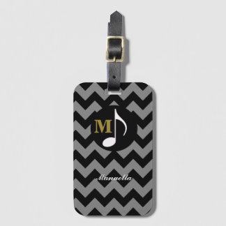 chevron with musical note, personalized bag tag
