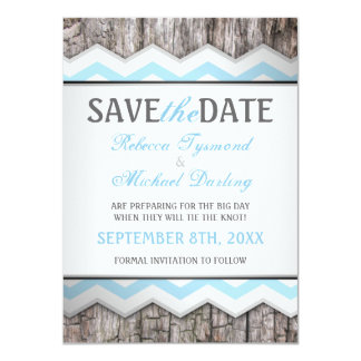 Chevron & Wood Rustic Save the Date Announcements