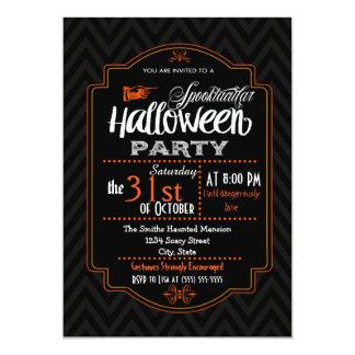 Chevron y invitación de Halloween de la tipografía