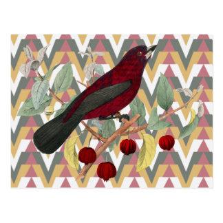 Chevron y pájaro del rojo del vintage tarjeta postal