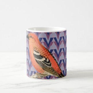 Chevron y pájaro rosado del vintage tazas