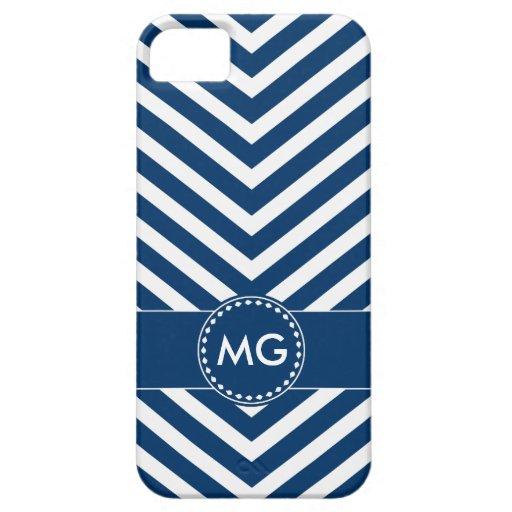 Chevron y semillas cones monograma en el azul - iPhone 5 Case-Mate cárcasas