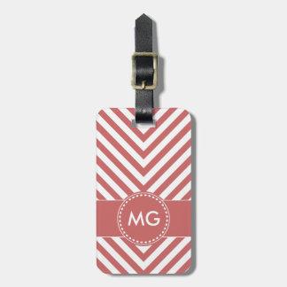 Chevron y semillas cones monograma en el rosa 4 - etiquetas maletas