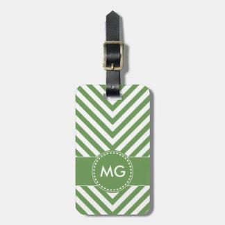 Chevron y semillas cones monograma en etiqueta etiqueta de maleta