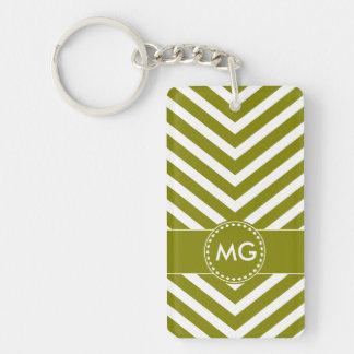 Chevron y semillas cones monograma en verde - llavero rectangular acrílico a una cara