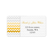 chevron yellow and gray Ombre return address label