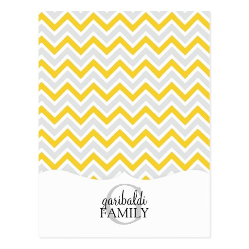 Chevron Yellow and Modern Family Personalized Postcard