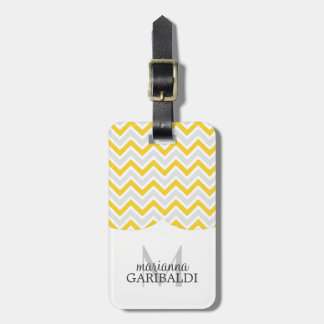 Chevron Yellow and Modern Personalized Luggage Tag